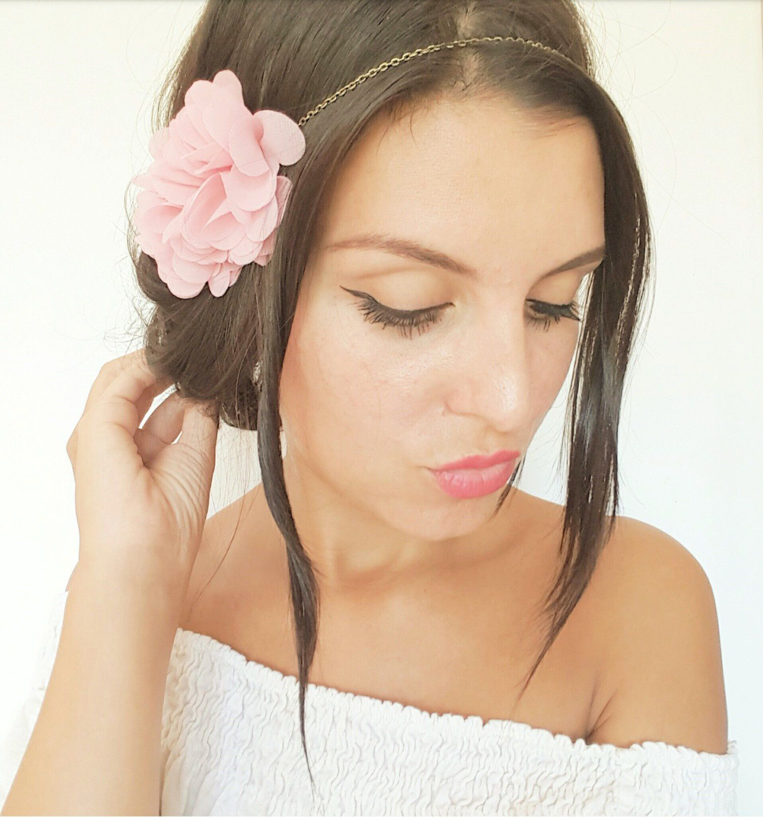 headbands mariage champ tre boh me et peignes cheveux fleurs rose poudr style romantique. Black Bedroom Furniture Sets. Home Design Ideas