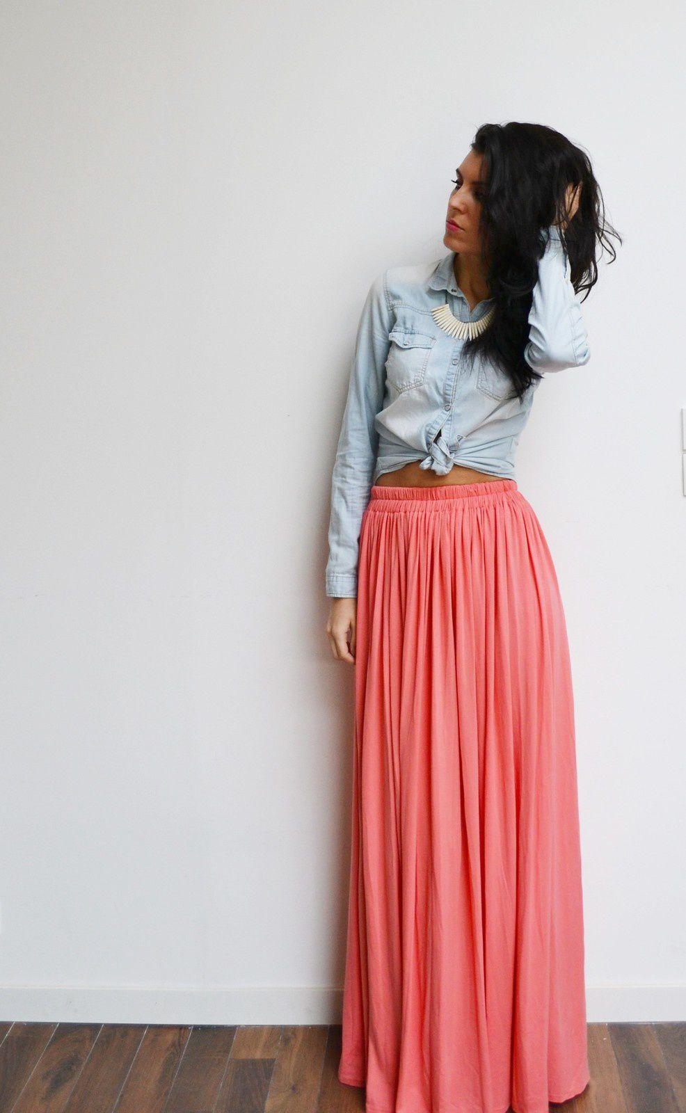 maxi jupe longue corail rose taille haute fluide et pliss e tendance t style boh me menina. Black Bedroom Furniture Sets. Home Design Ideas
