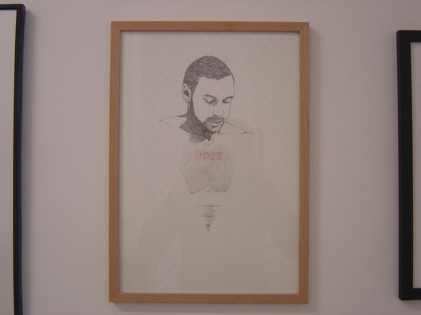 "Dorian JUDE, ""Hope"", 2011, Mine graphite et mine rouge sur papier, 44 x 31 cm encadré, 400 €"