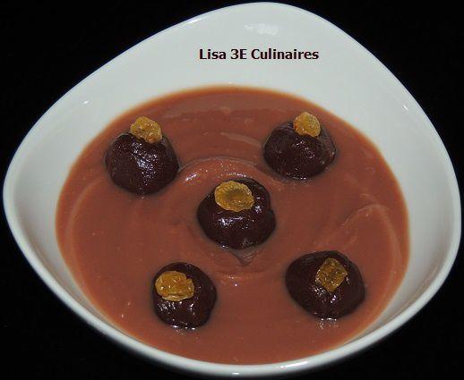 Crème dessert châtaignes - rhum - truffes chocolat noir - raisins secs