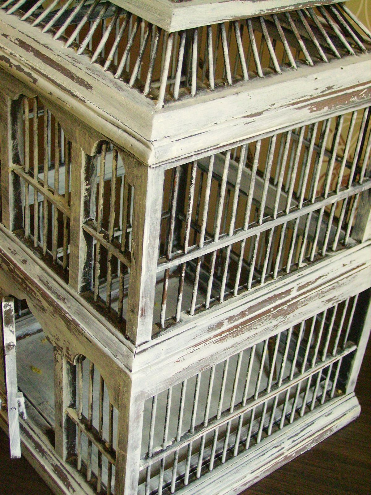 Relooking cage à oiseaux en bois