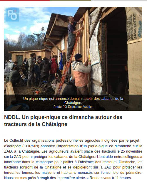 NDDL: Un pique-nique ce dimanche autour des tracteurs de la Châtaigne (presse Océan du 12.01.13)