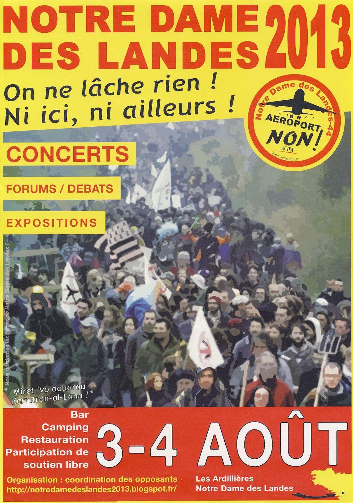 NDDL : Mise en ligne du site de l'évènement  Notre-Dame-des-Landes 2013 les 3 &amp&#x3B; 4 aout prochain
