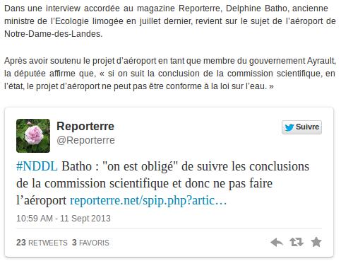 NDDL : Delphine Batho dit sa vérité sur le projet d'aeroport ( presse Océan du 12.10.13)