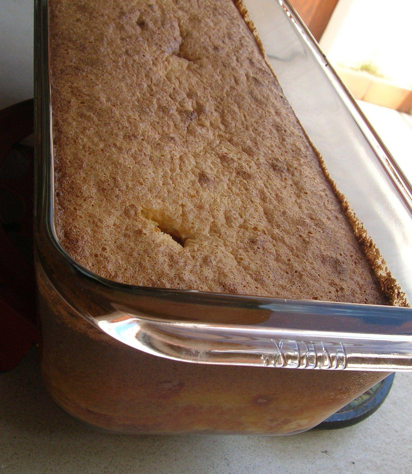 """Voici le flan non démoulé, on voit bien la couche de """"gâteau"""""""