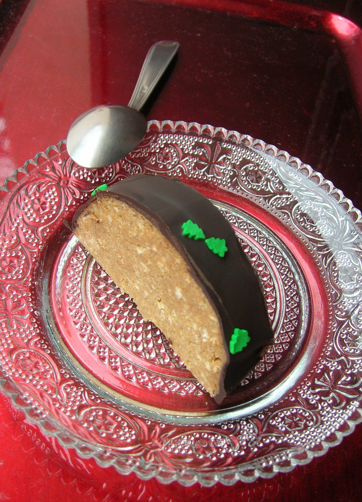 Bûche de noël chocolat/biscuits écrasés/café