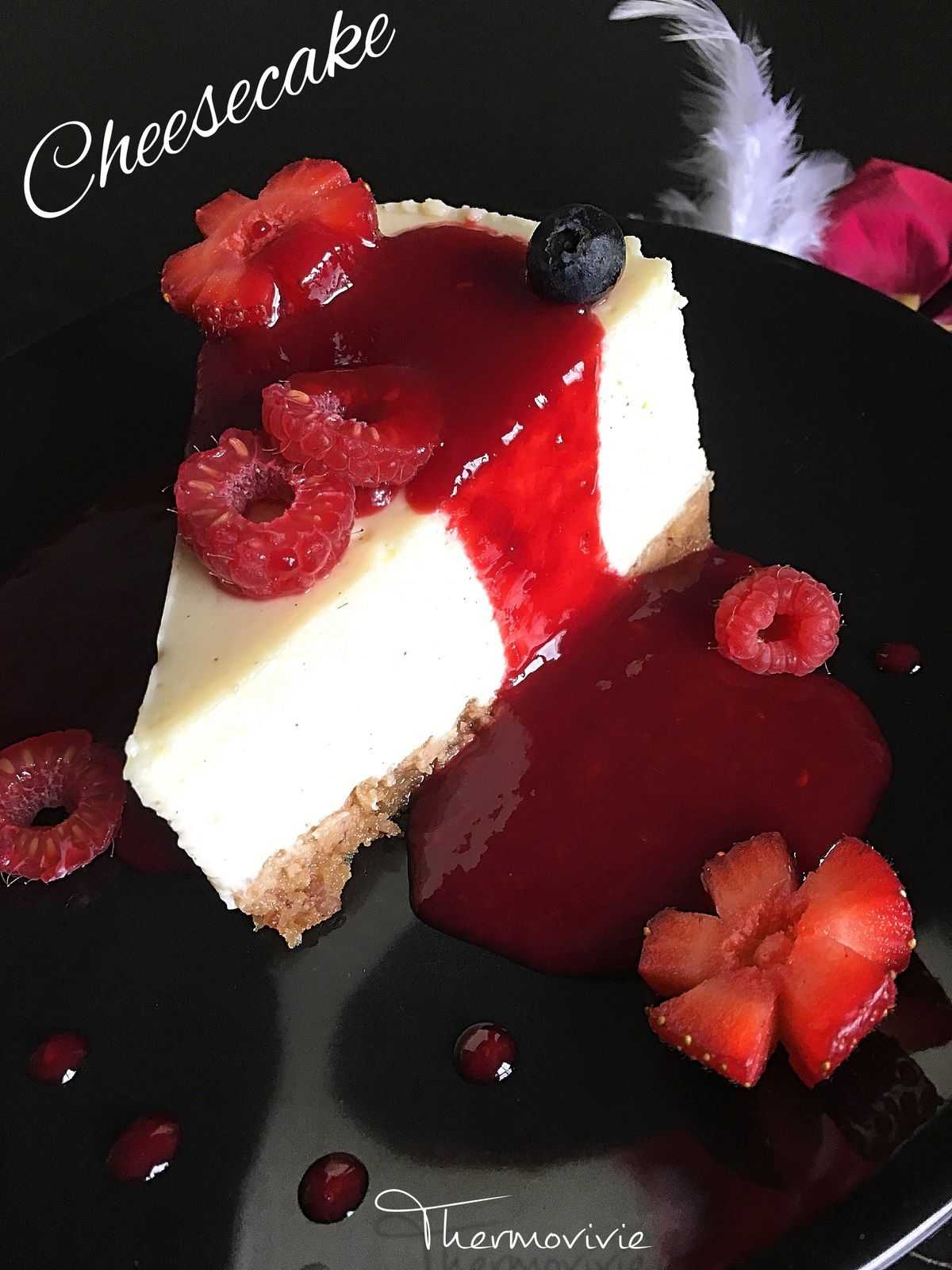 cheesecake aux fleurs de fruits rouges recette au thermomix thermovivie. Black Bedroom Furniture Sets. Home Design Ideas