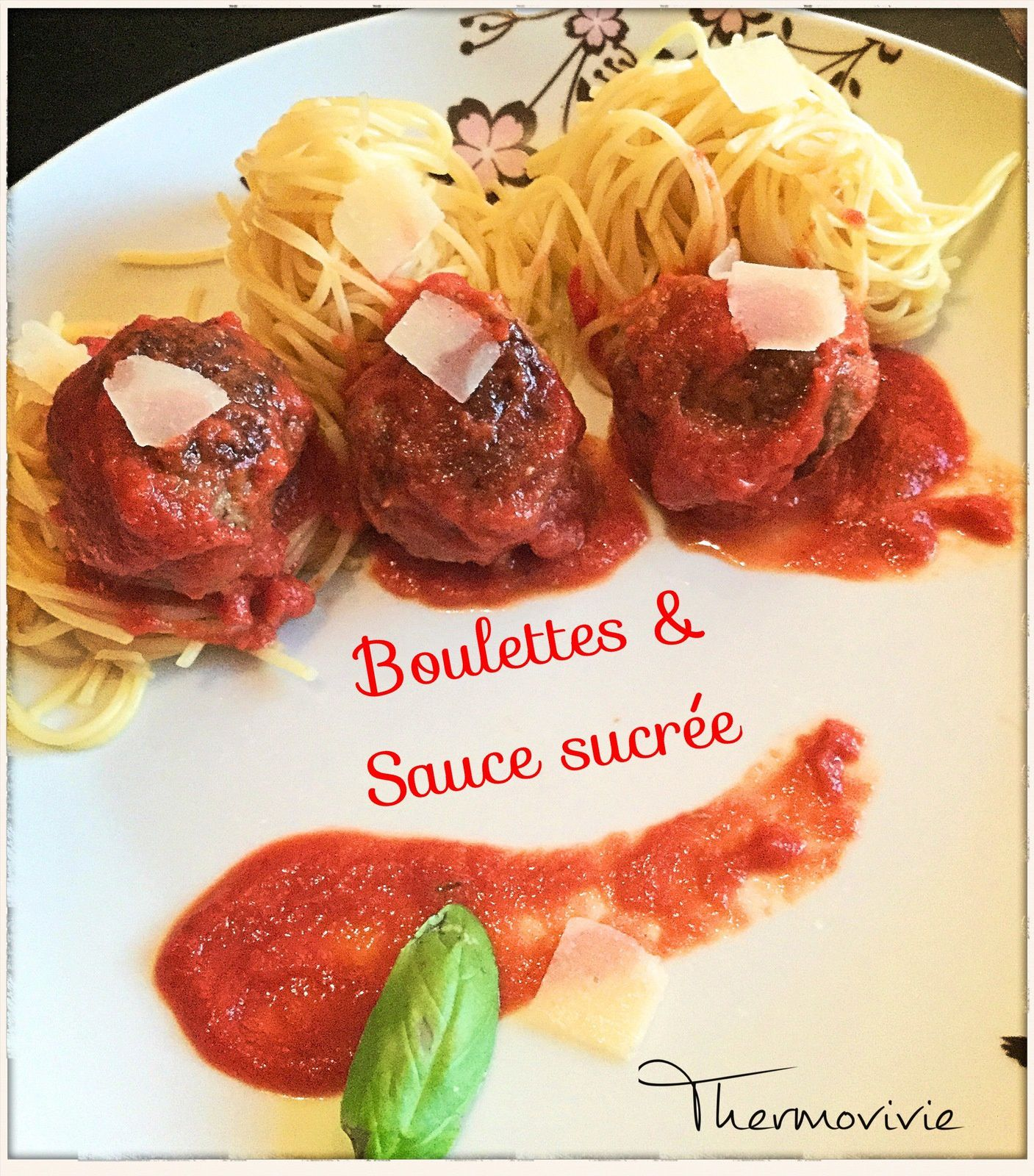 boulettes de b uf et sa sauce tomate sucr e recette au cook expert de magimix thermovivie. Black Bedroom Furniture Sets. Home Design Ideas