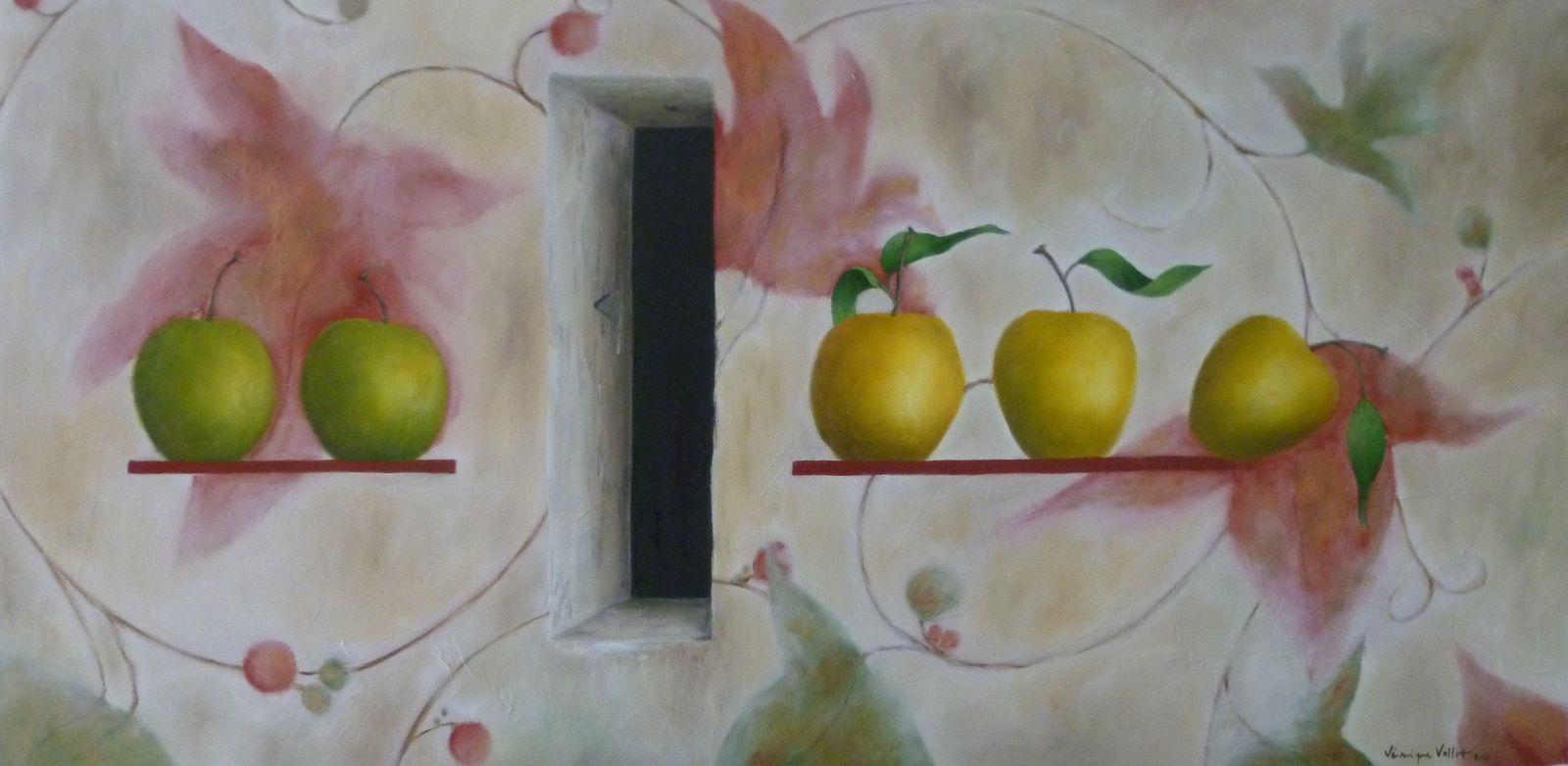 """1- """"Pommes en Suspens, fond Bleu"""" - 2-""""pommes en Suspens, fond Rouge""""- 3-""""Pommes en Suspens, fond Jaune""""- 4-""""Pommes en Suspens, fond Blanc tondo""""- 5-""""Pommes en Suspens, fond Blanc""""- 6-""""Pommes en Suspens, 3 pommes, mosaïques, fontaine""""- 7-""""Pommes en Suspens, Grandes Arabesques 2""""- 8-""""Pommes en Suspens, Grandes Arabesques 1""""- 9- """"Pommes en Suspens, la Désinvolture"""" - 10-""""Pommes en Suspens, Grandes Arabesques 4"""" - 11-""""Pommes en Suspens, Bleu"""" - 12-""""Pommes en Suspens, la Pause"""""""