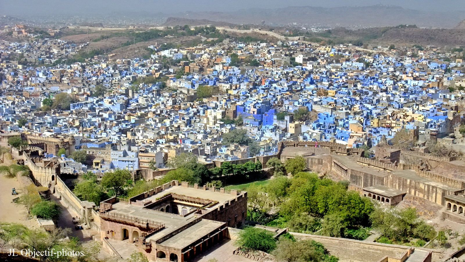View on the blue city of Jodhpur from the Mehrangarh Fort. Rajasthan India