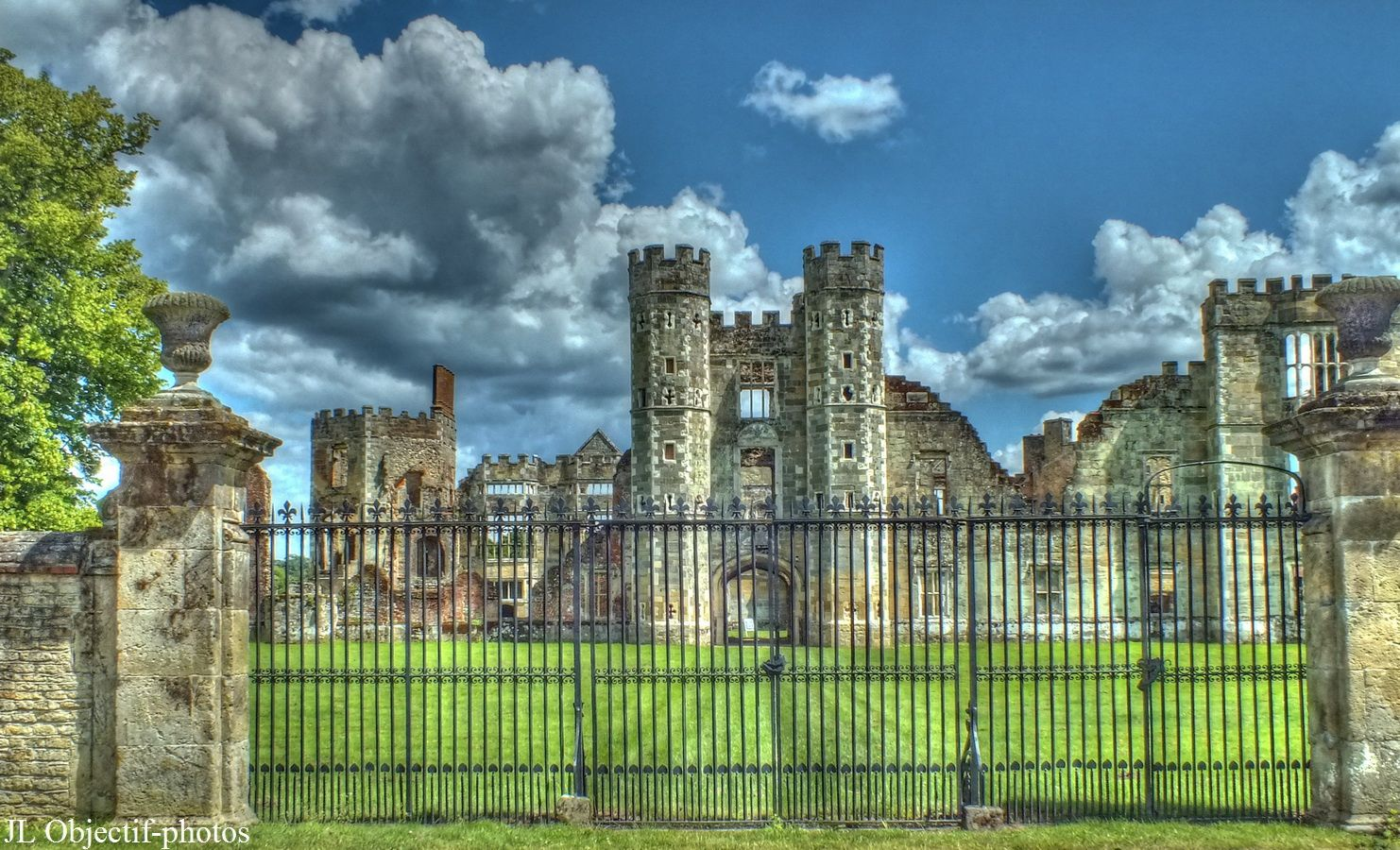 Cowdray House consists of the ruins of one of England's great Tudor houses, architecturally comparable to many of the great palaces and country houses of that time. It is situated just east of Midhurst, West Sussex standing on the north bank of the River Rother. It was largely destroyed by fire on 24 September 1793.