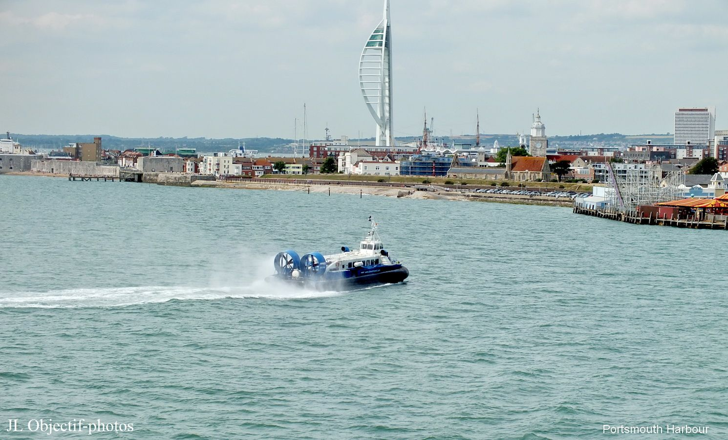 Hovercraft coming to Portsmouth Harbour England UK ...