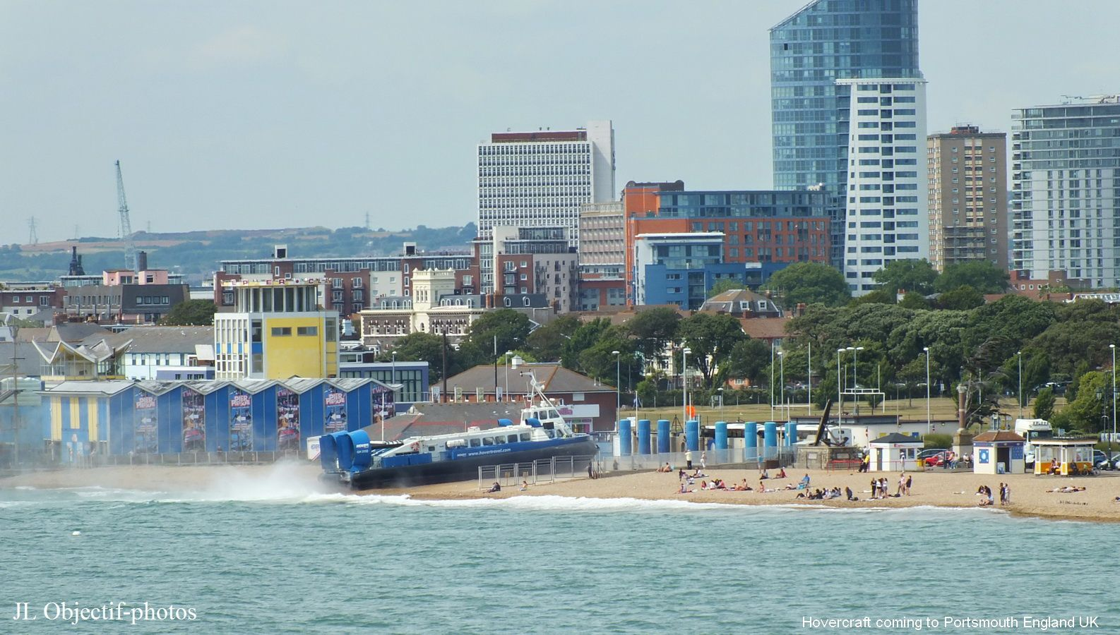 Hovercraft coming to Portsmouth Harbour England UK .