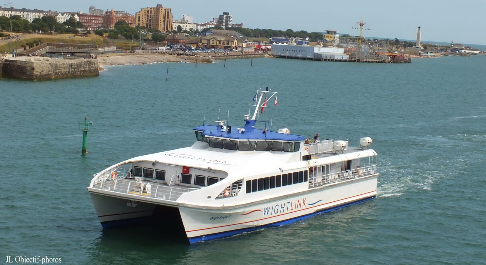 Ferry from the isle of Wight coming into Portsmouth - England