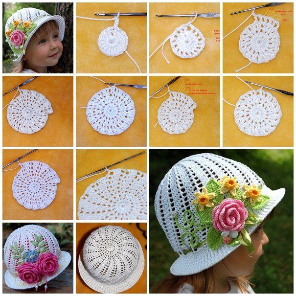 Adorables chapeaux pour fille , en suivant son pas à pas en images et sa grille gratuite !