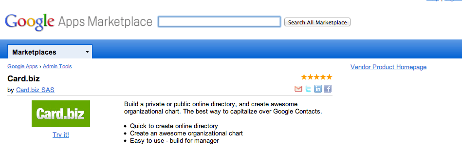 Card.biz available in Google Apps Marketplace