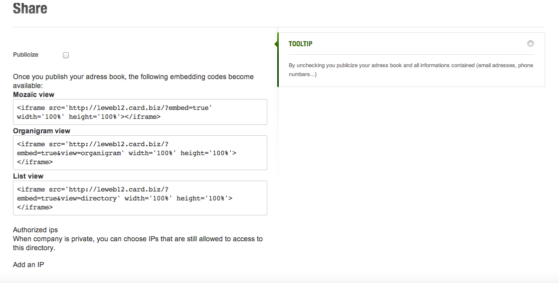 UPDATE : Google Apps sync, IP Filter & embed code