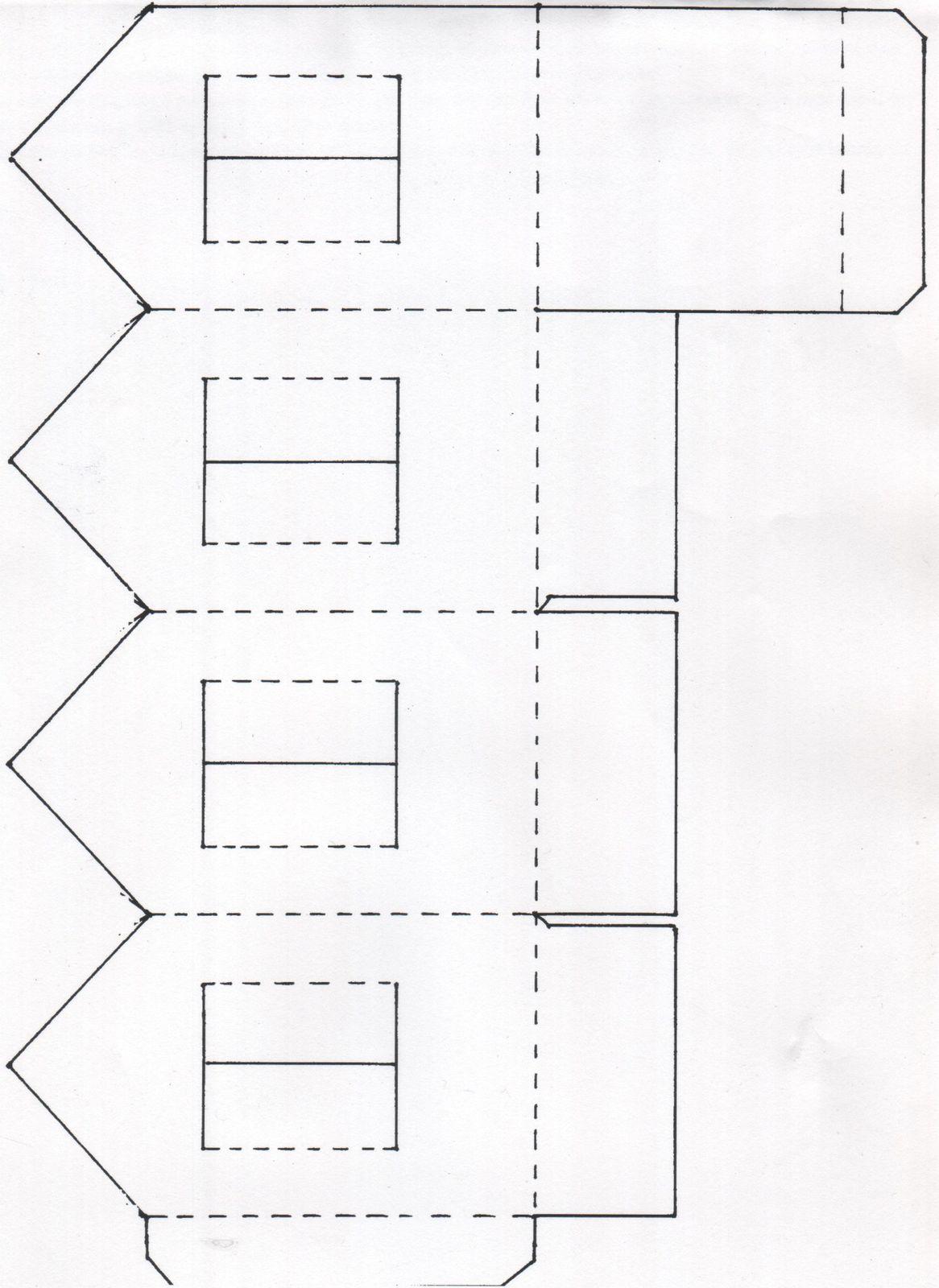 Une maison photophore en papier bidouilles et patouilles - Patron de maison en papier a imprimer ...
