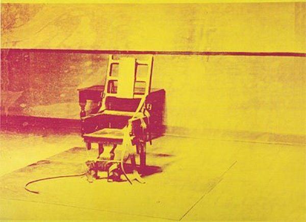 """""""Electric chair"""", Andy WARHOL, depuis 1963, encre sérigraphique et peinture acrylique sur toile 137,2 x 185,3 cm."""