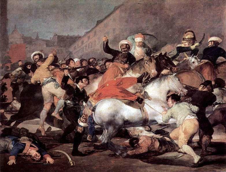 """Francisco GOYA """"Dos de mayo"""", 1814 (huile sur toile 2,66m x 3,45m) Musée du Prado à Madrid."""