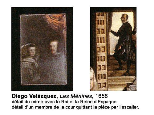 Un miroir à l'arrière plan réfléchit les images de la reine et du roi en train d'être peints par Vélazquez (ou peut-être réfléchissant le tableau que peint Vélazquez représentant le roi et la reine).Au fond Nieto Velázquez, un possible parent du peintre, apparaît à contre jour, comme une silhouette, sur une courte volée de marches tenant d'une main un rideau.