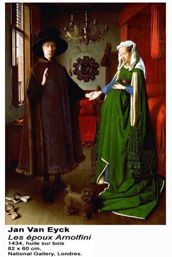 """Jan VAN EYCK """"Les Époux Arnolfini"""", 1434, (huile sur bois, 82 x 60cm) National Gallery à Londres."""