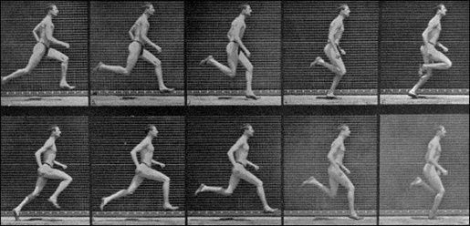 """Motion study of an athlete running"" Eadweard Muybridge (chronophotographie) 1887"