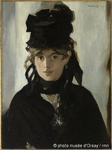 """Edouard MANET, """"Berthe Morisot au bouquet de violettes"""", 1890, huile sur toile, 55 x 40 cm (Musée d'Orsay, Paris)."""