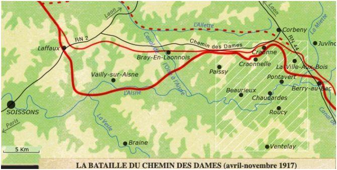 La carte des combats du chemin des dames (avril- novembre 17)