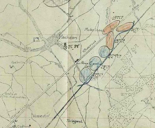 La bataille de repli de l'armée allemande à MACHELEN (BELGIQUE). PIETTRE Fréderic était dans la 15 cie (en haut de la carte)
