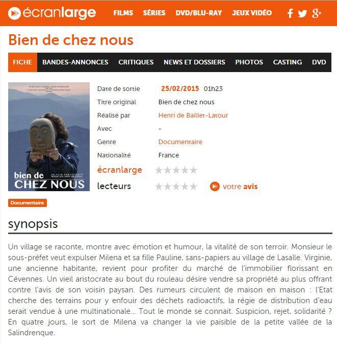 &quot&#x3B;Bien de chez nous&quot&#x3B; sur grand écran, oui. Mais sur Ecranlarge.com aussi &#x3B;)