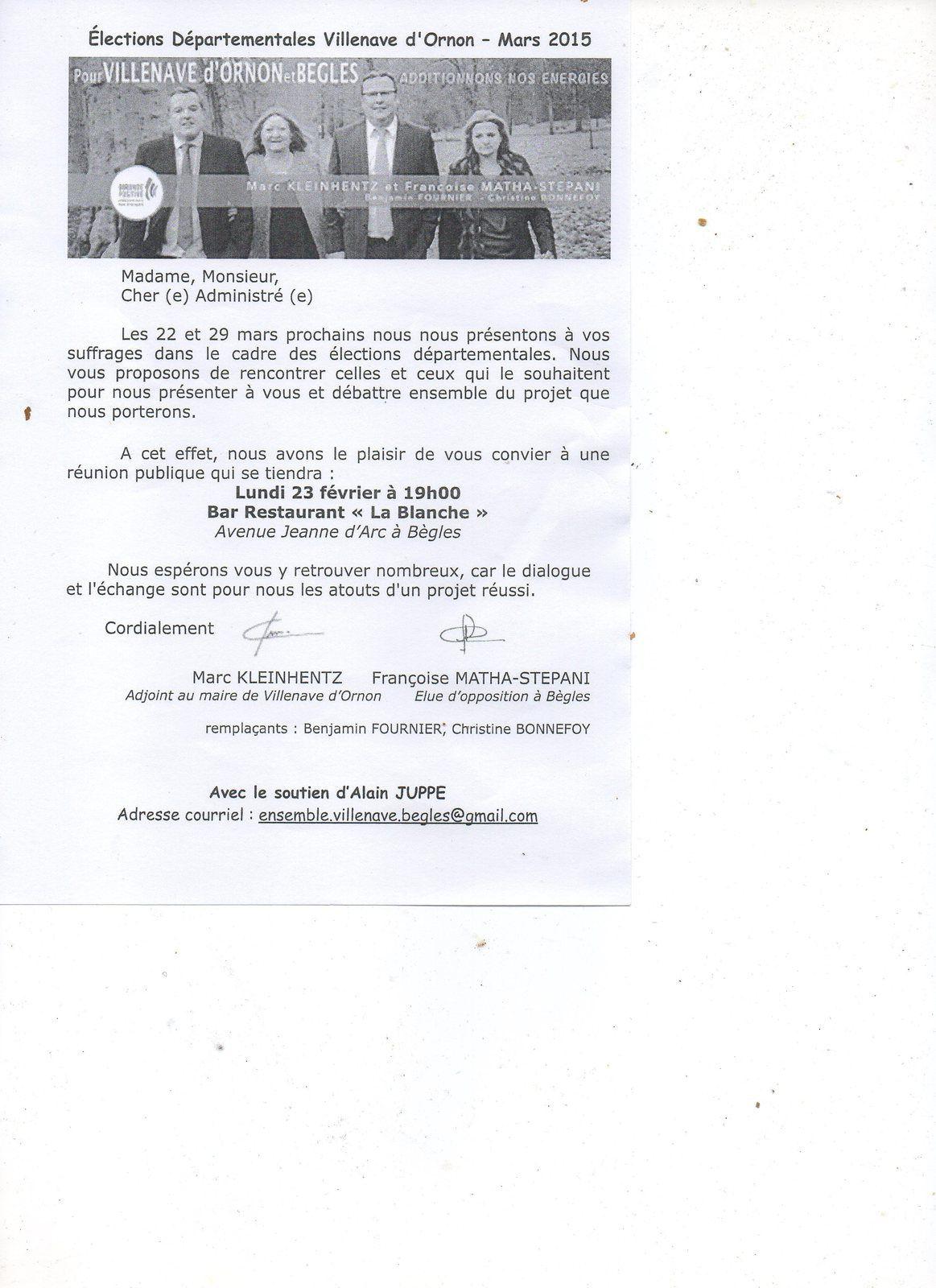 """REUNION PUBLIQUE Lundi 23 Février - 19H00 - Bar Restaurant """"La Blanche"""" Av Jeanne D'Arc à Bègles"""