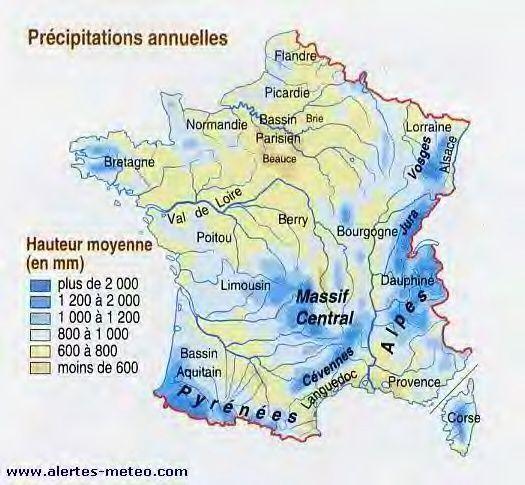 Pour comparaison, voici une carte des précipitations en France.