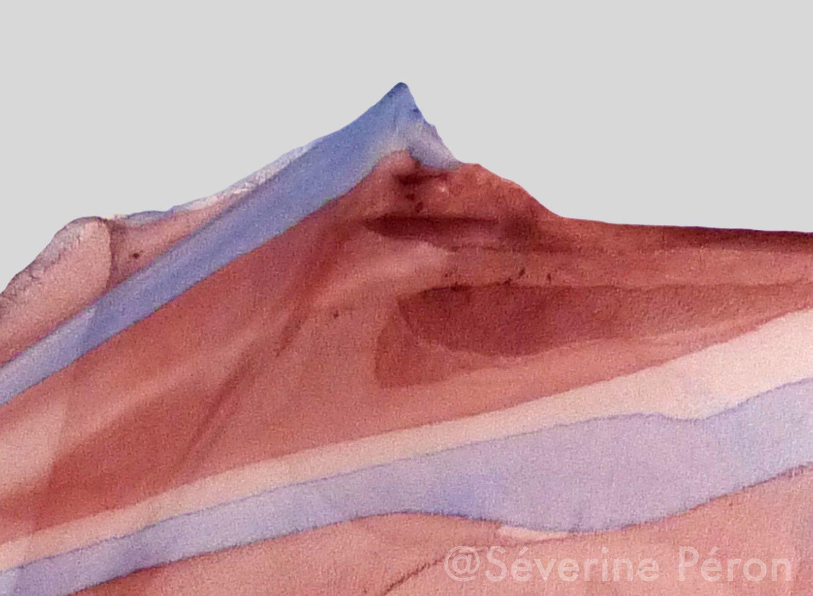 Paysages, triptyque, 2013. Photos numériques, détails de soie peinte de l'installation Fonte des Neiges