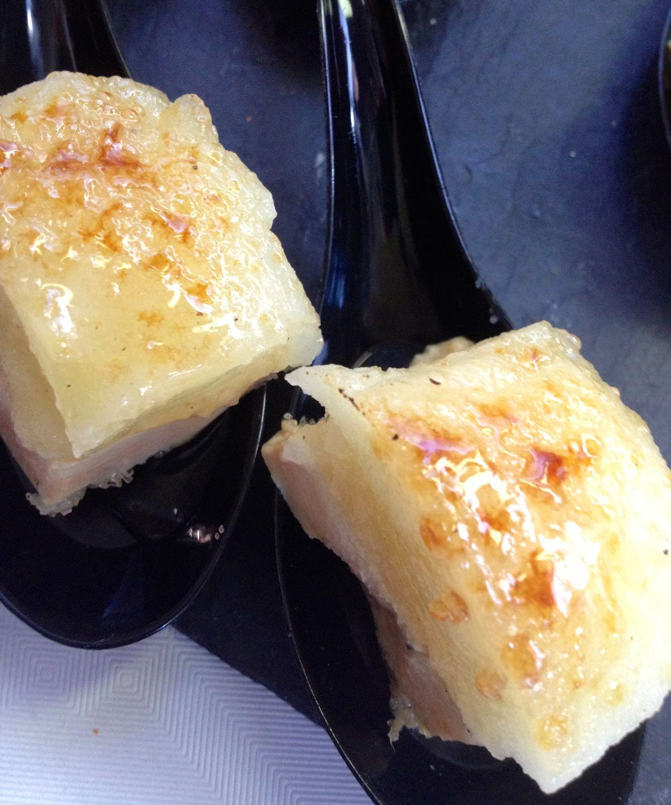 Foie gras aux pommes façon crème brulée par Eric Dequin, Auberge Labarthe à Borsdarros