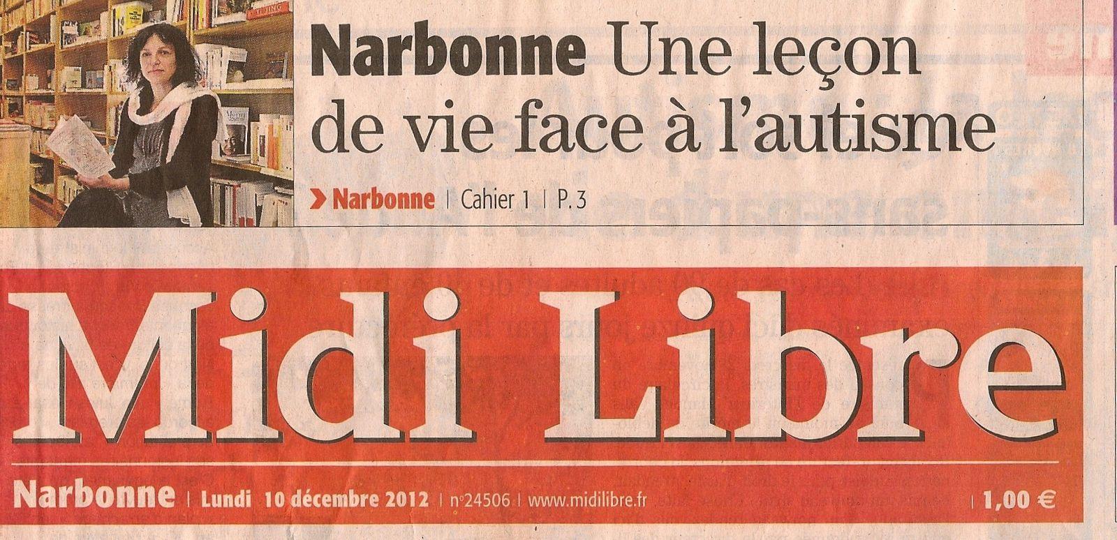 Article du Midi libre - Photo prise à la librairie Libellis, rue droite à Narbonne