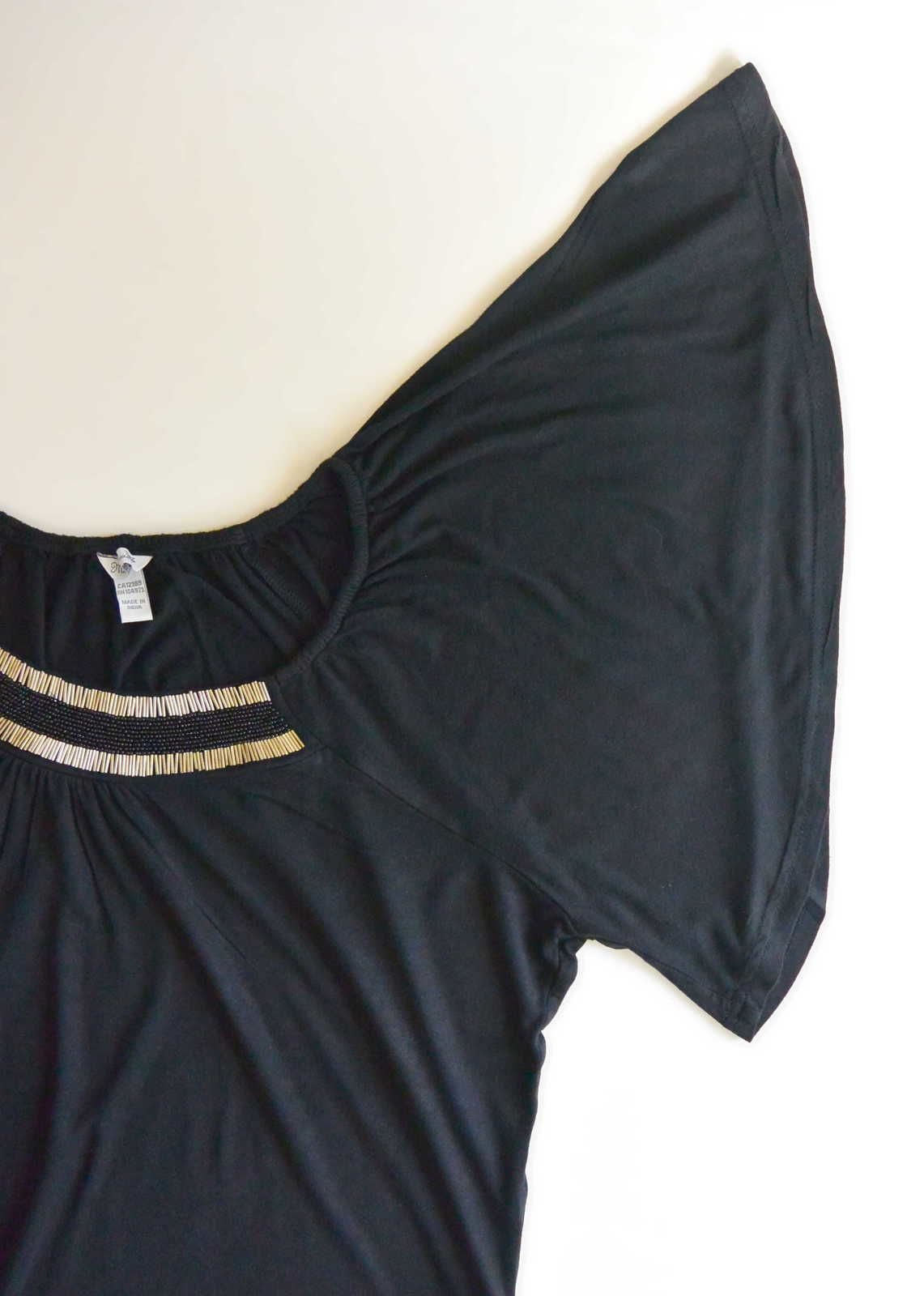 Tee shirt ample noir perles manches ange Mix of luxe© T.L