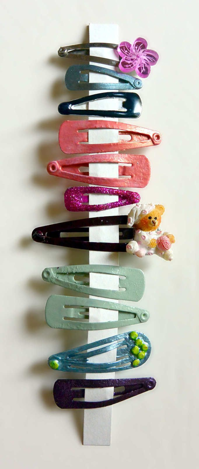 Lot de 11 petites barrettes fantaisies multicolores