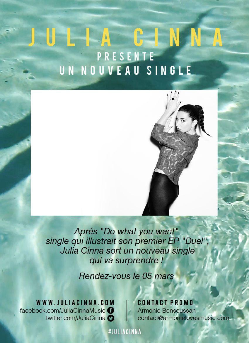 Fraiche et pétillante, Julia Cinna sort des sentiers battus et nous promet un nouveau single très très surprenant... RDV le 5 mars !