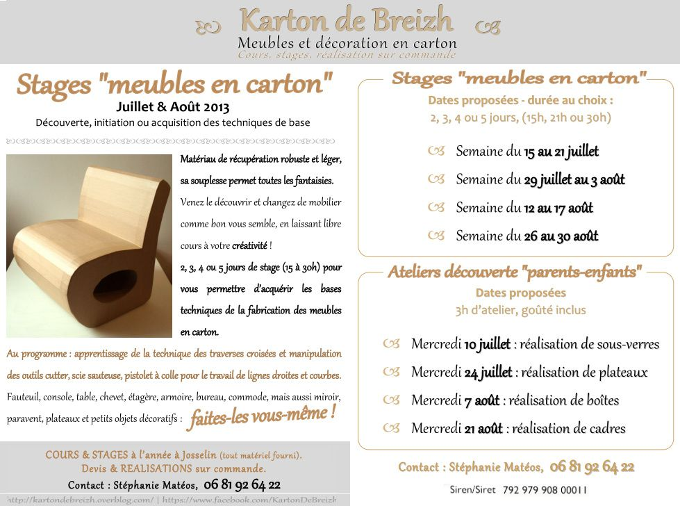 stages meubles en carton juillet ao t 2013 karton de breizh. Black Bedroom Furniture Sets. Home Design Ideas
