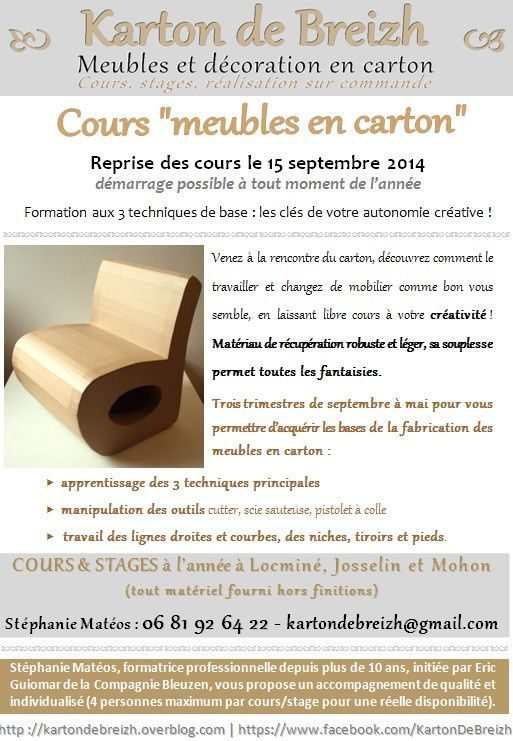 cours meubles en carton josselin locmin et mohon karton de breizh. Black Bedroom Furniture Sets. Home Design Ideas