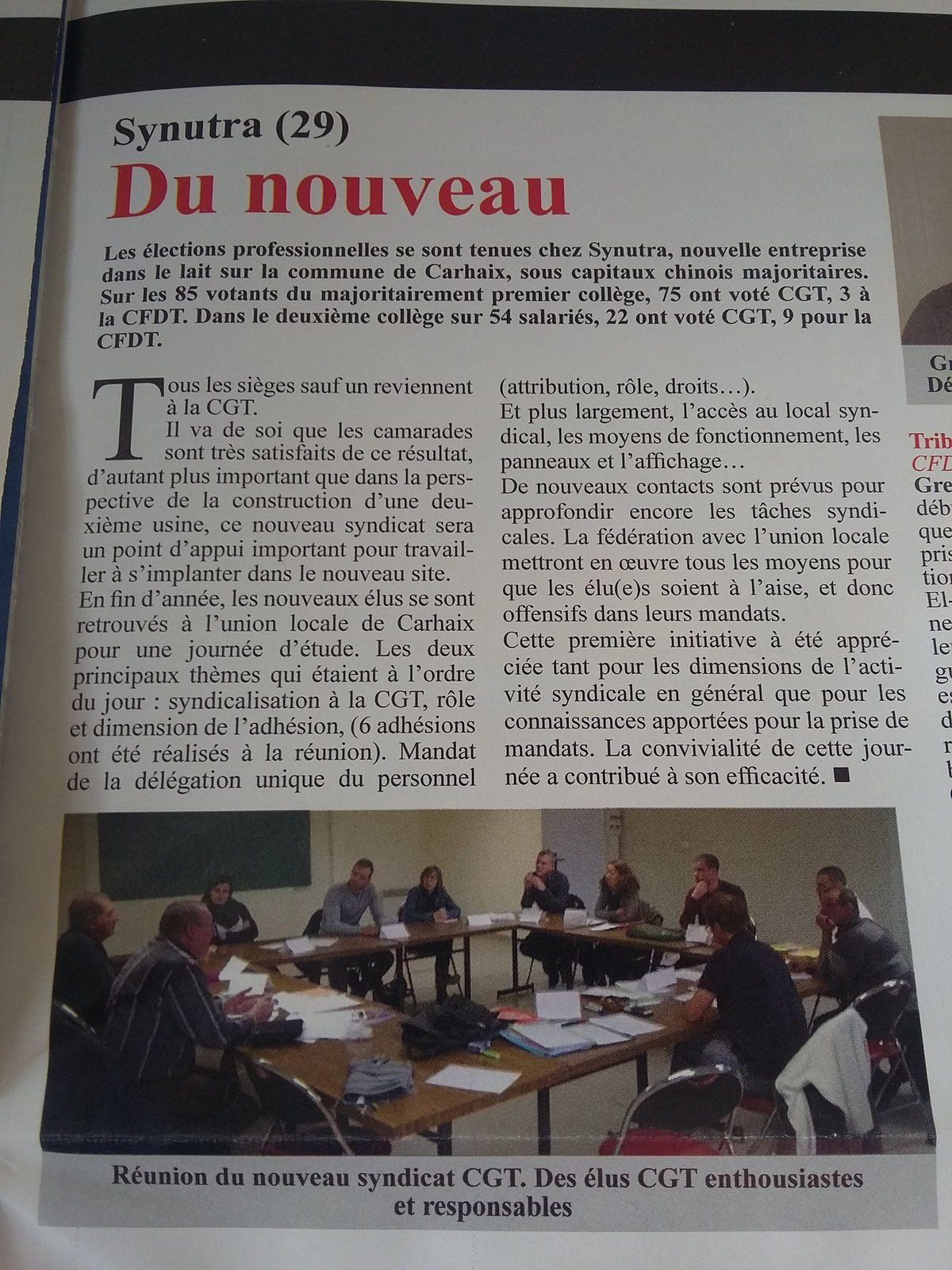 Synutra, Carhaix, Elections professionnelles, CGT