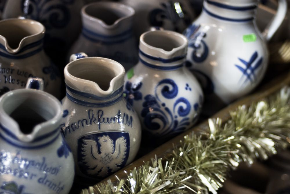 Bembel are traditional pottery jugs, grey with a blue pattern, used to serve Apflewein.