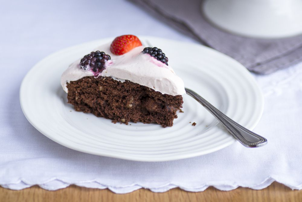 Cocoa Hazelnut Cake with Strawberry Cream