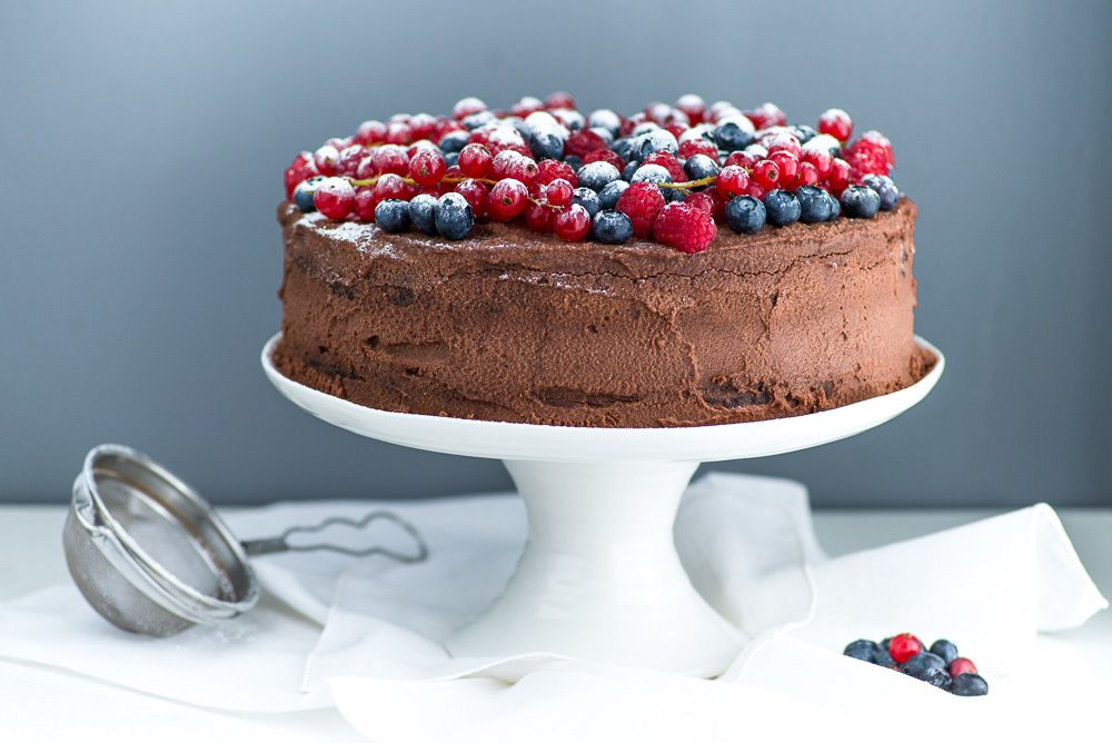 Chocolate Mascarpone Cake with Berries