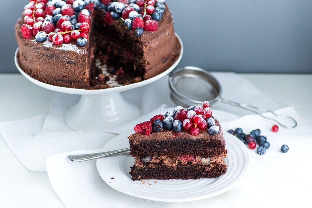 Chocolate Mascarpone Cake with Berries
