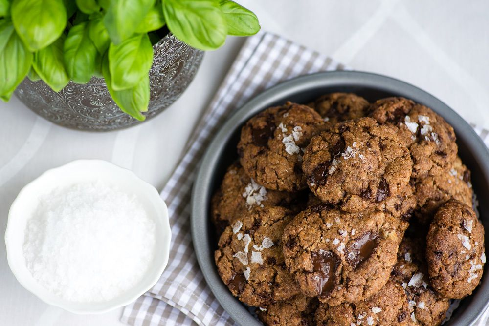 Chocolate Chip Cookies with Basil Brown Butter &amp&#x3B; Sea Salt