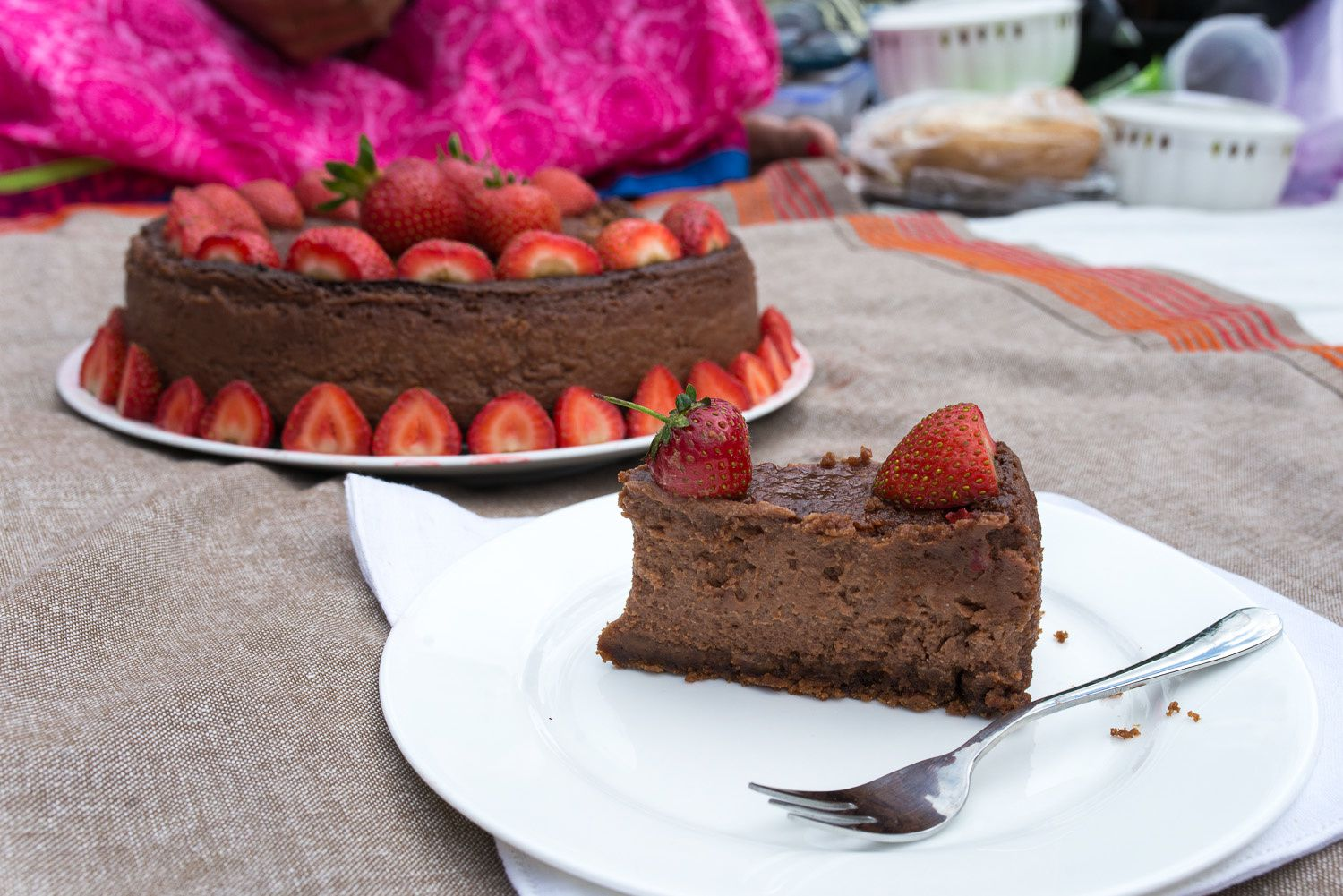 Eggless Double Chocolate Baked Cheesecake with Strawberries