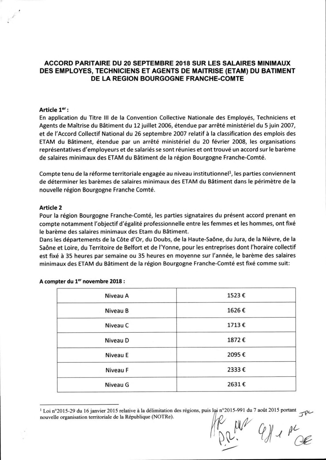 Les Salaires Des Etam De Bourgogne Franche Comte Cnc Batiment Cfdt