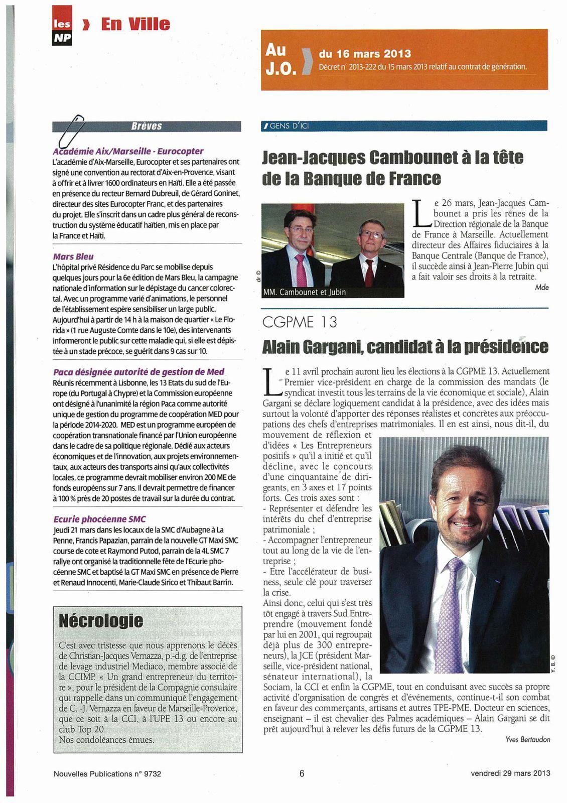 Les nouvelles publications titre : Alain GARGANI, candidat à la Présidence